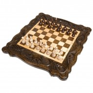 Шахматы + нарды резные «Корона» 50, Haleyan