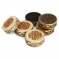 Набор резных фишек для нард с бронзой, Haleyan