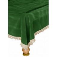 Покрывало для стола 10 ф (бархат, зеленое/бежевая бахрома)