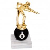 Кубок бильярдный Игрок на шаре № 8 на мраморном основании